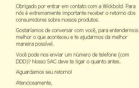 Wickbold: eficiência do atendimento pelo Facebook