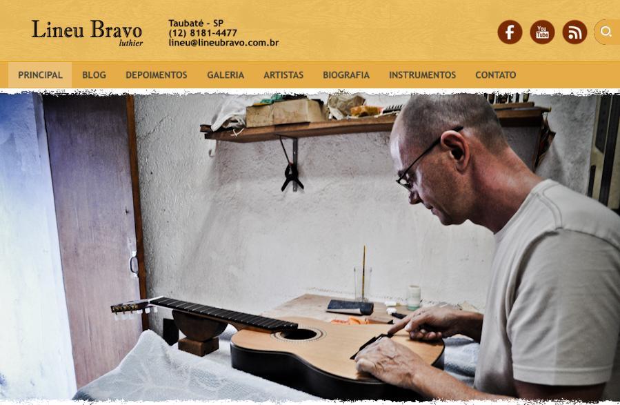 Site institucional vencedor do Prêmio Lettering 2013: Lineu Bravo Luthier