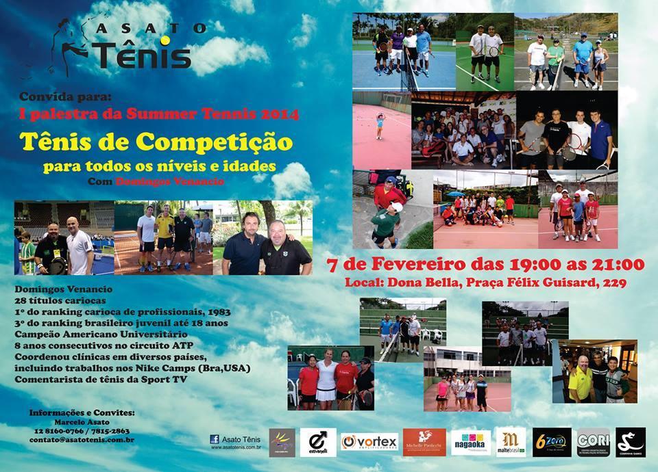 Tênis em Taubaté: palestra em 7 de fevereiro de Domingos Venâncio
