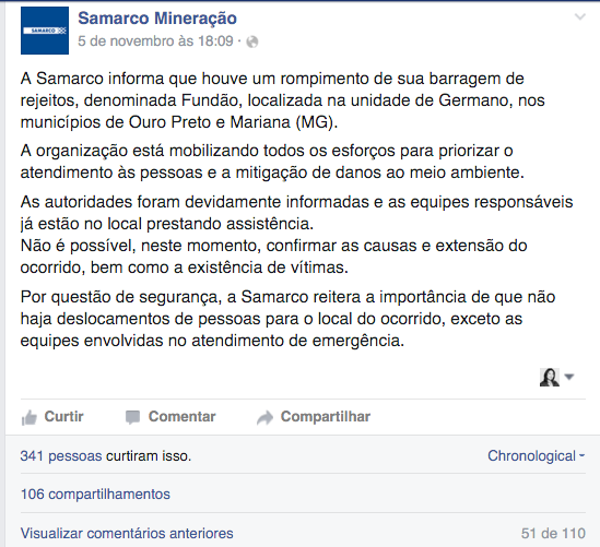comunicado oficial samarco