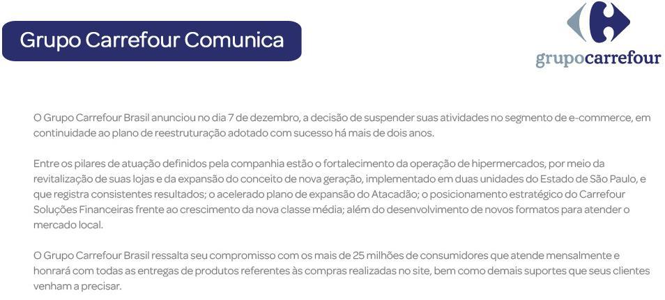 E-commerce do Carrefour foi desativado em dezembro de 2012