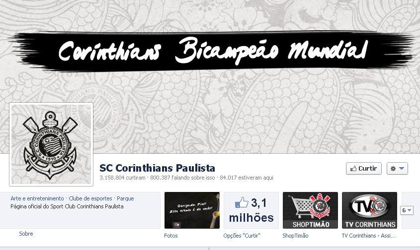 Facebook do Corinthians tem mais de 3 milhões de fãs