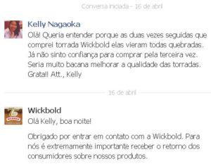 Facebook: mensagem à Wickbold, em 16 de abril