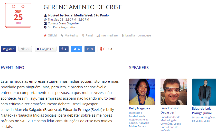Gerenciamento de crise no Social Media Week SP 2014