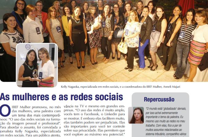 """""""As mulheres e as redes sociais"""": matéria com Kelly Nagaoka, no IBEF Campinas"""