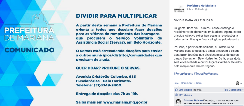 prefeitura de mariana-samarco-crise midias sociais